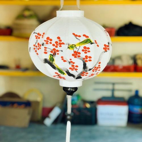 White Silk Lantern with Red Flower and Bird Pattern - Round Shape