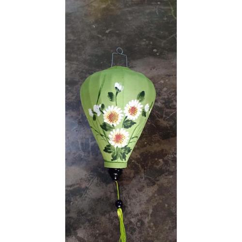 Green Daisy Silk Lantern - Teardrop shape