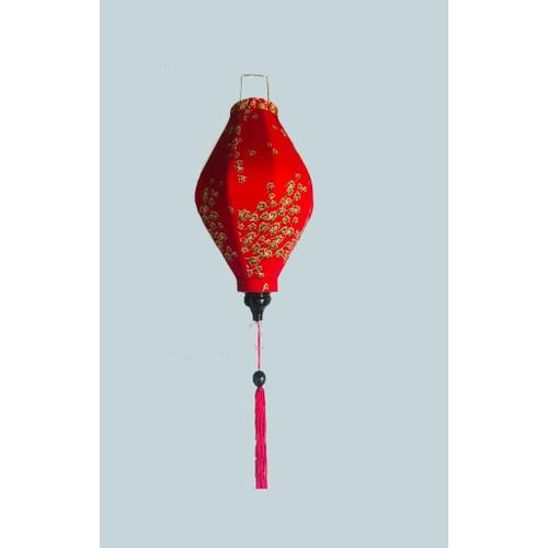Diamond Red Flowery Silk Lantern
