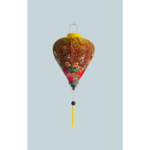 Yellow Flowery silk Lantern in  Teardrop Style
