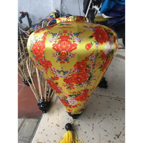 Yellow Silk Lantern with Red Flower Pattern - large size
