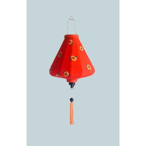 Red Silk lantern with Flower Pattern in Diamond Shape - large size