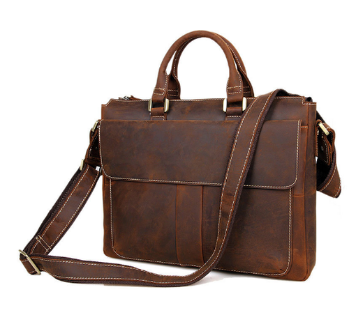 Office Wax Leather Briefcase