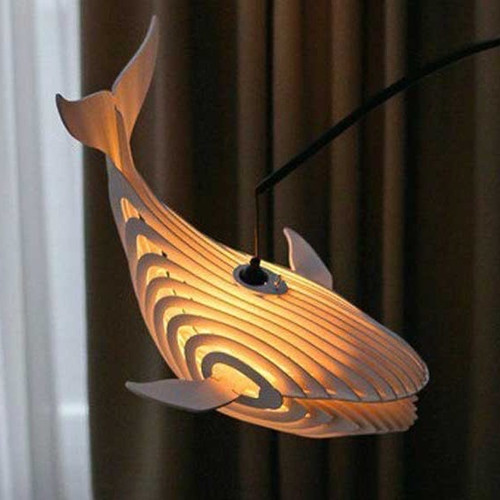 Wooden Whale Lamp - Hanging Lamp