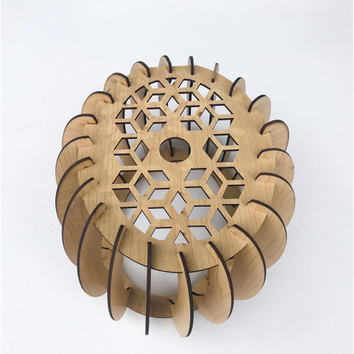 Wooden Twisted Round lamp