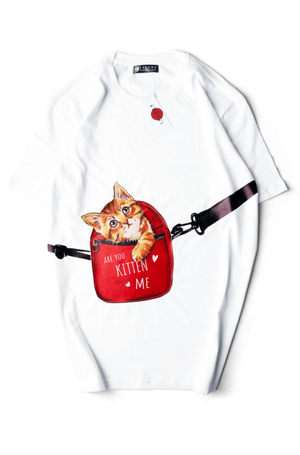 Cotton T-shirt Kitten in Bag