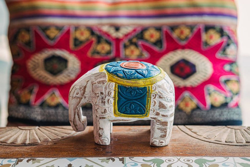 Carved Baby Elephant - Natural Wood