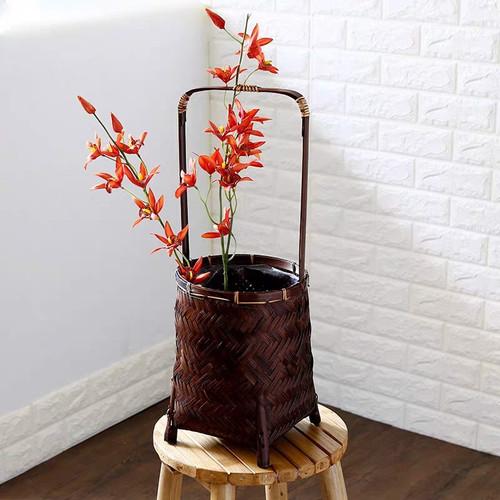 Decorative basket made of bamboo