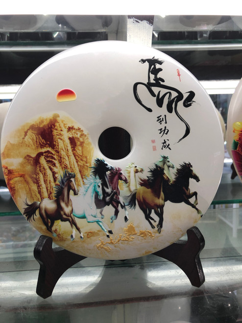 Stone carving decoration with pattern of horses 006