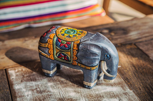 Elephant inlaid with silver