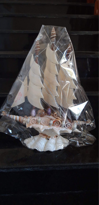 Handcrafted boat made of shells 012