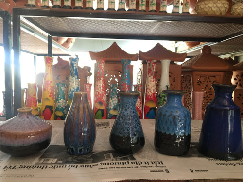Blue Ceramic Pottery Vase - 5 Sizes - No.22 (Combo)