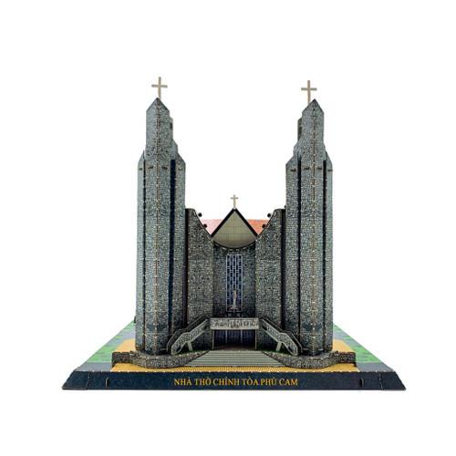 The 3D Paper Self-Assemble Model of Catholic PHU CAM CHURCH in Hue 22x37x22cm