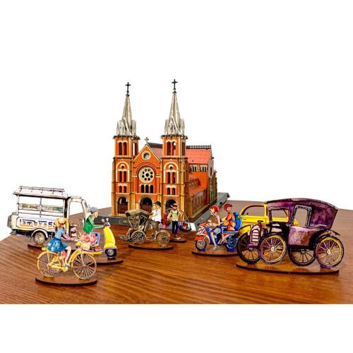 Set of 8 Mini Models of Vietnamese Human and Vehicles
