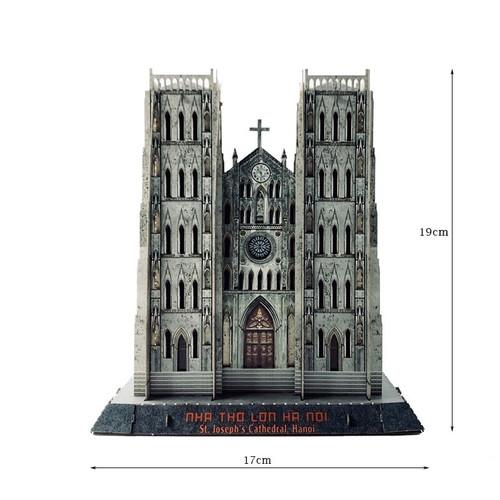 The 3D Paper Assemble Model of  St. Joseph's Cathedral, Hanoi Size 17x35x19cm