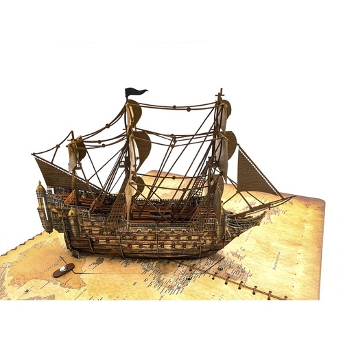 """3D Wooden Card with The boat """"Goes on the wind"""" - with Led Light Box"""