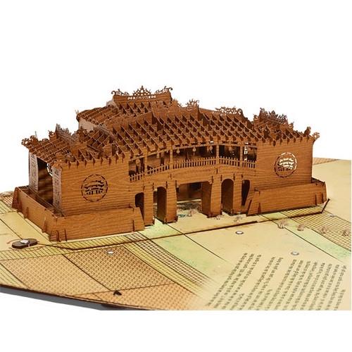 3D Wooden Card of Hoi An Pagoda - With Led Light - Size 29cm x 18cm x 9cm