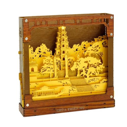 Hue Thien Mu Pagoda Scenery Light Box - Size 25cm x 25cm x 5cm
