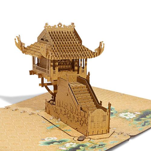 3D Hight Quality Wooden card of Hanoi One Pillar Pagoda - With led light Size  23cm x 20cm x14cm