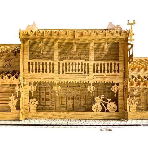 Hoi An Ancient Town- 3D Wooden Card - large size with lights - 29cm x 17cm x 8cm