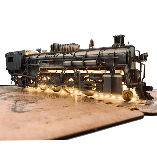 3D Paper Model Steam-Powered Train with integrated led lights - Size  23cm x 27cm