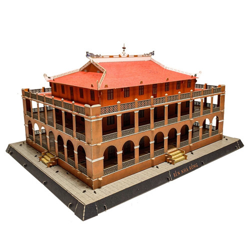 The 3D Paper Self-assemble Model of the Famous Nha Rong Wharf  Size 32cm x 26cm x 18cm