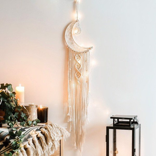 Wall hanging dreamcatcher with moon and long tassels