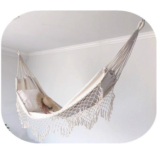 Canvas hammock with tassels – Bohemian style 200x100cm