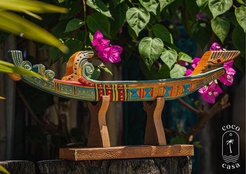 Handmade Dugout Boat - Natural Wood