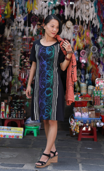 This elegant dress by Hot Chli features a beautiful, hand-painted design inspired by Aboriginal folktales