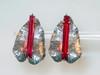 Ruby pink tall clip earrings