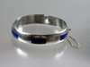 Taxco silver and enamel hollow hinged bangle