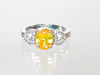 Deep yellow crystal hearts ring
