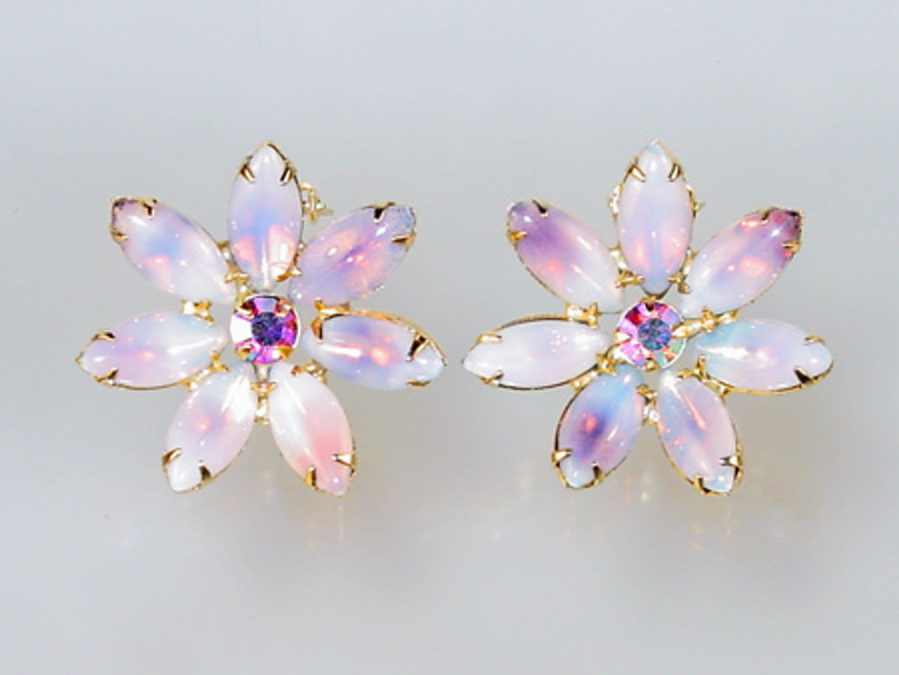 Large Lavender Floral Marquise Clip Earrings