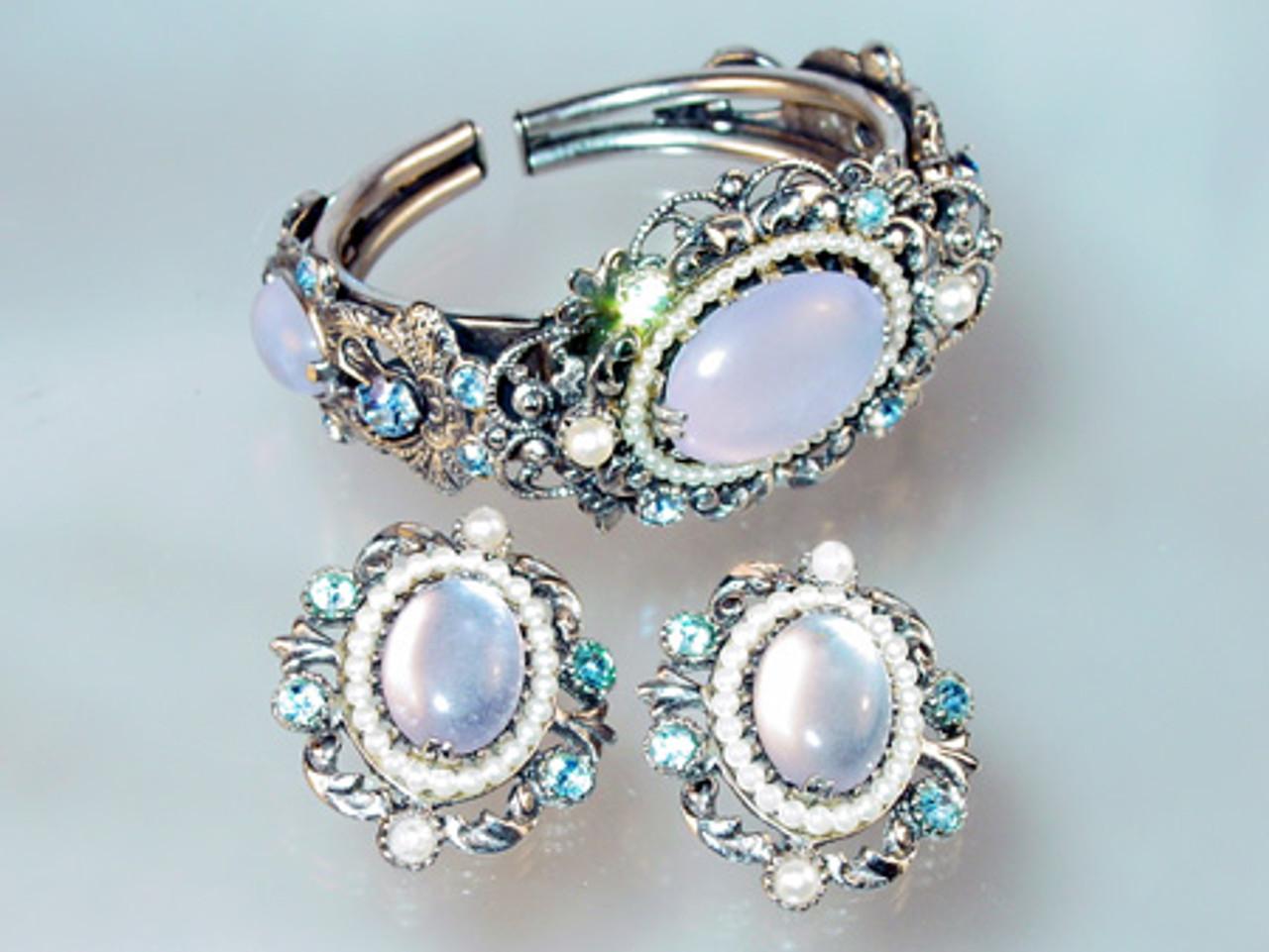 Selro corp moonstone hinged bracelet & earrings