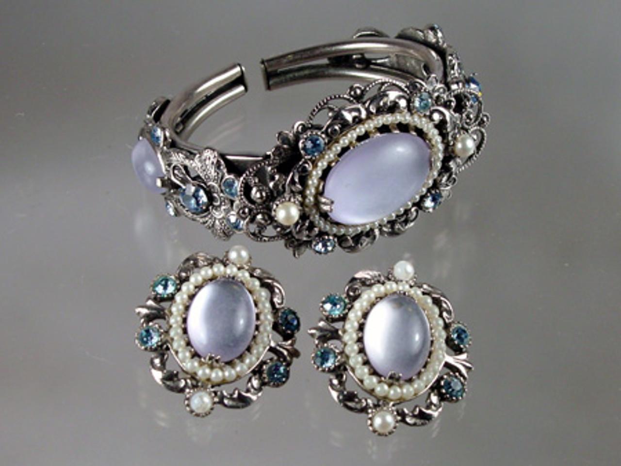 Faux moonstone Selro Corp bracelet and earrings set