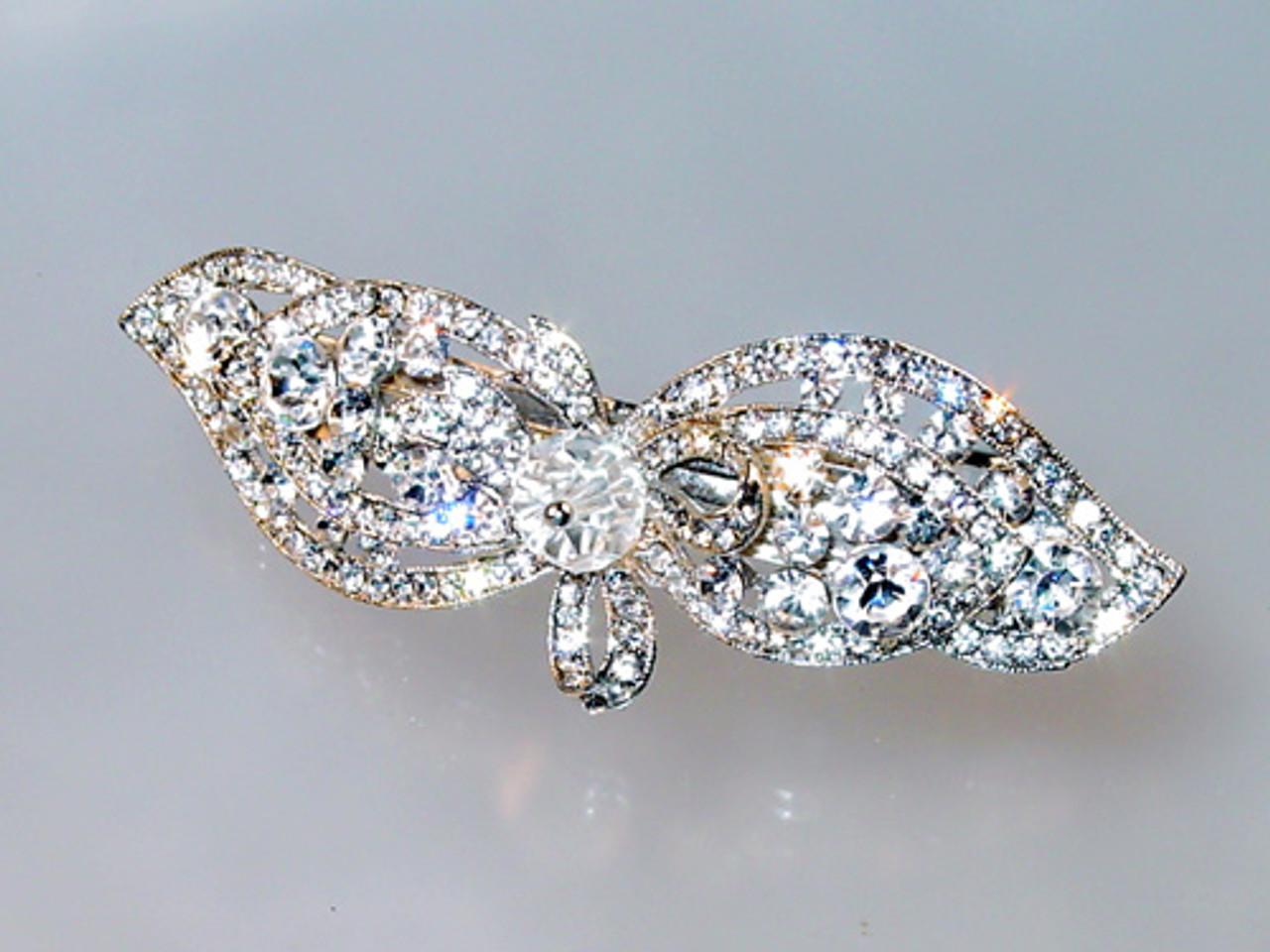 crystal bow barrette