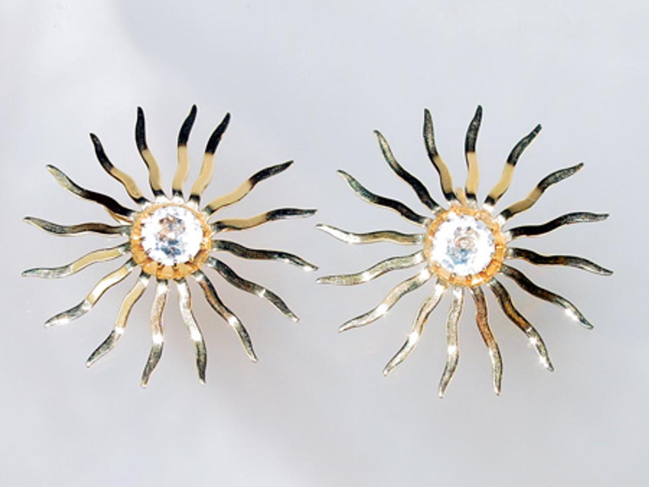 Sarah Coventry large sun clip earrings