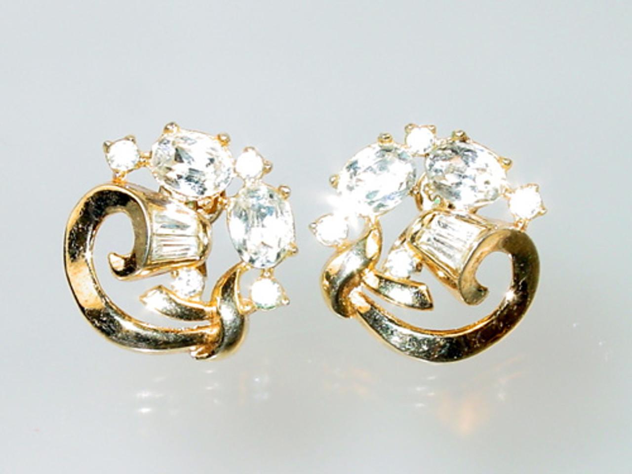 Crown Trifari Promenade Clip Earrings