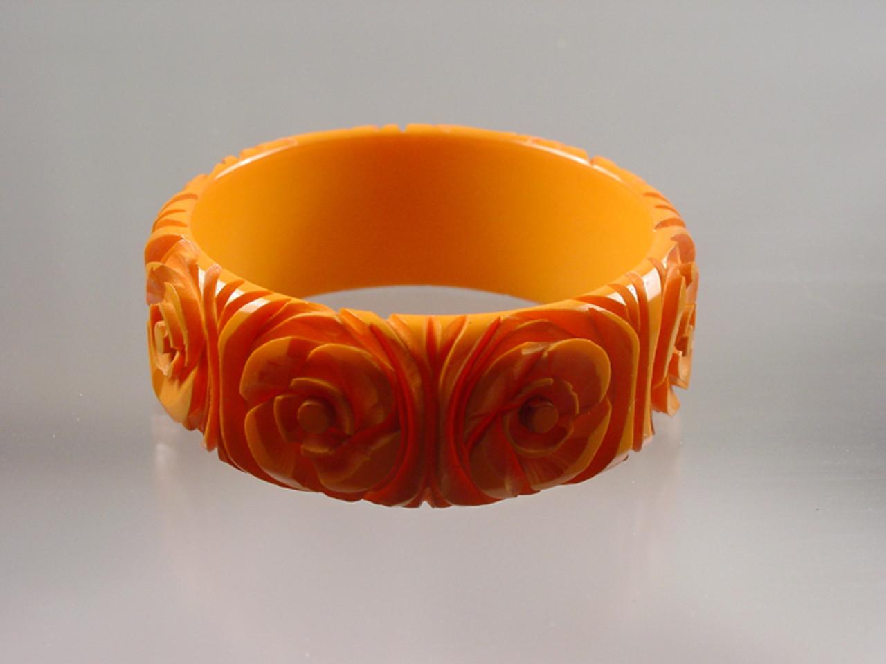 Vintage Carved Floral Bakelite Bangle