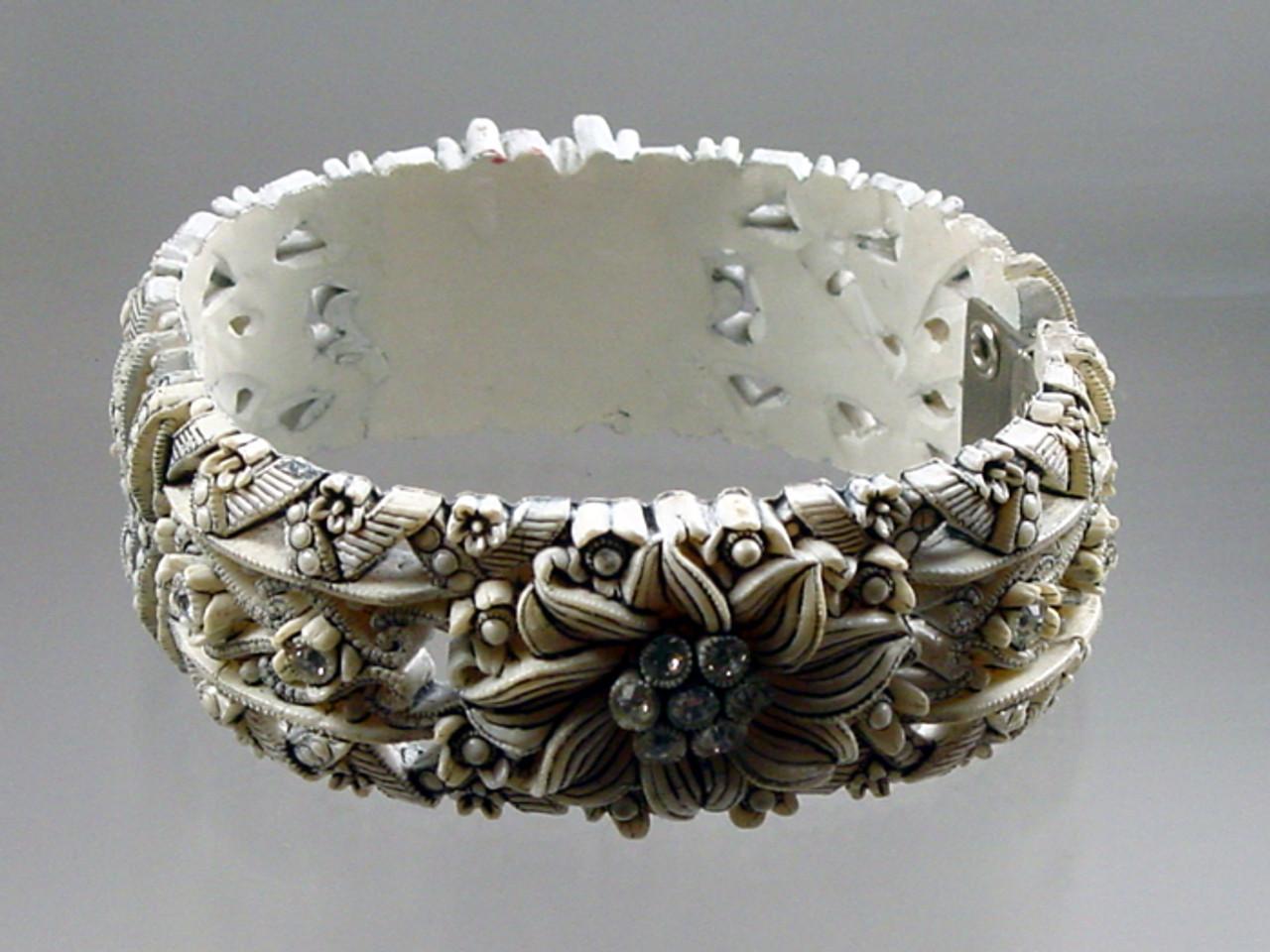 Celluloid Floral Rhinestone Clamper Bracelet