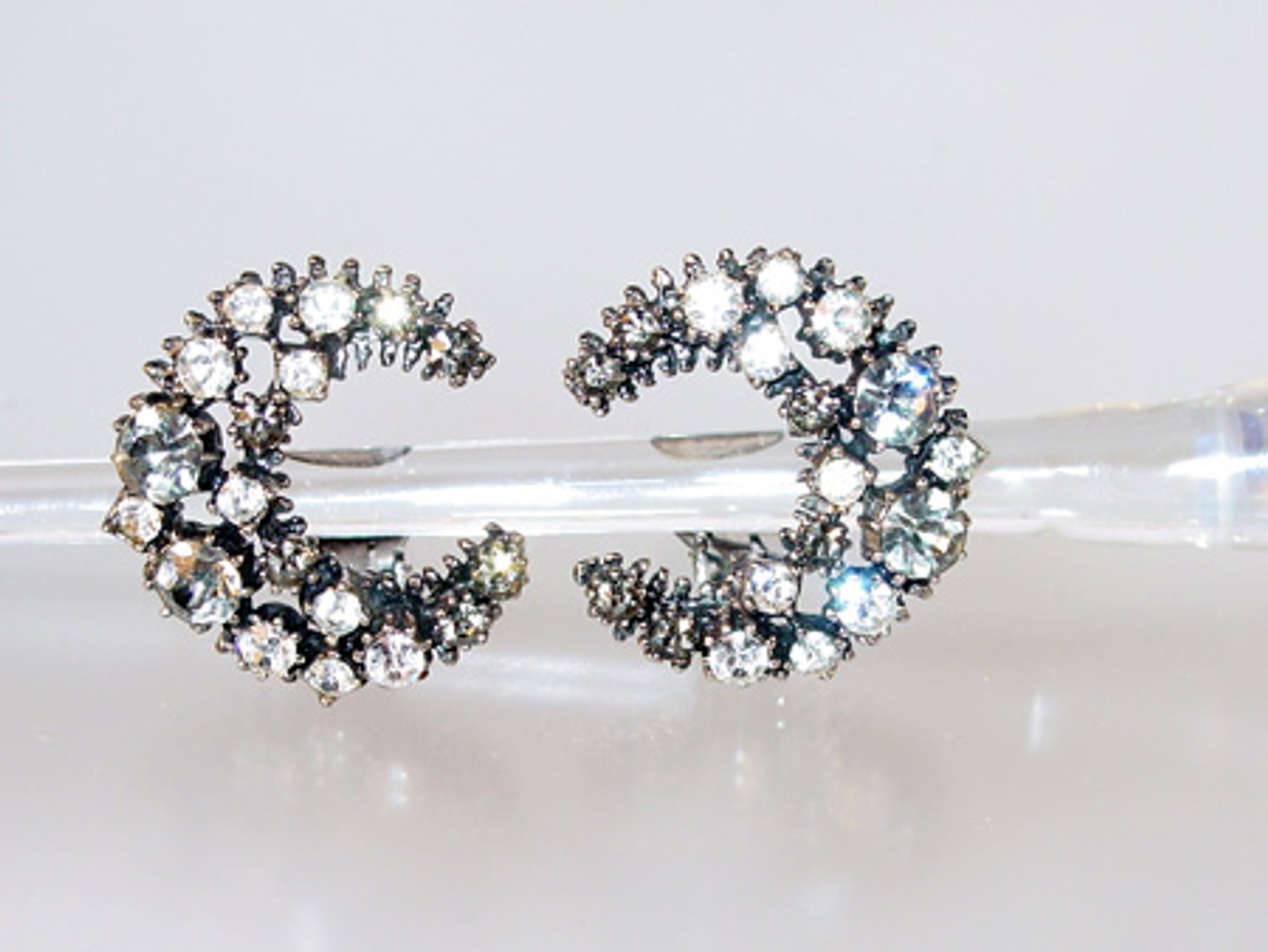 Crescent Moon Rhinestone Clip Earrings