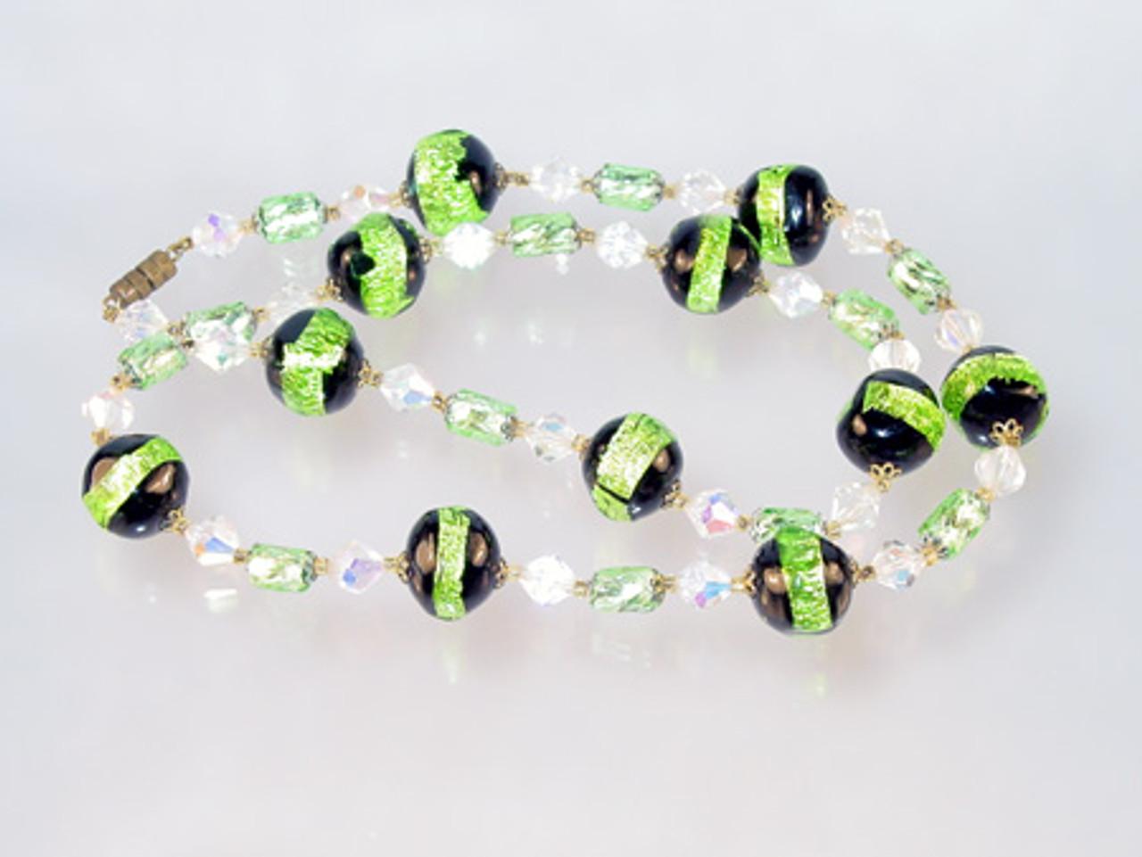 Vintage glass foil bead necklace