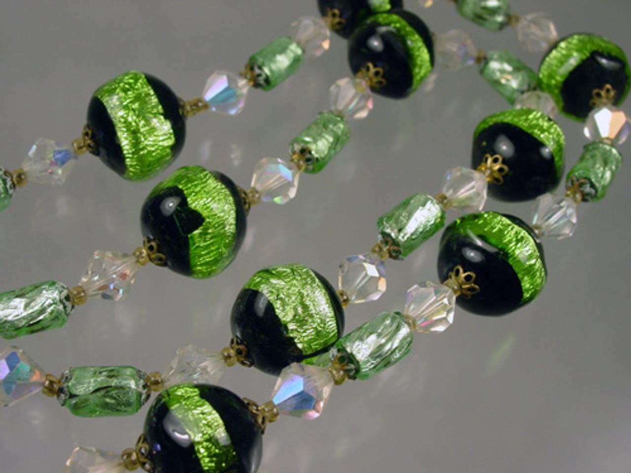 Venetian Glass Foil Bead Necklace
