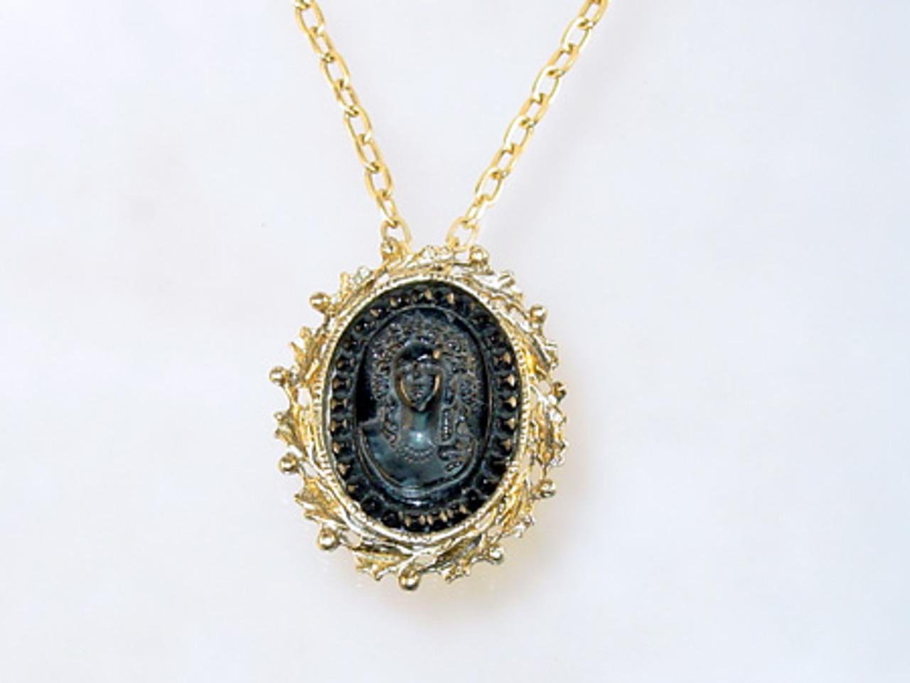 Black glass cameo necklace