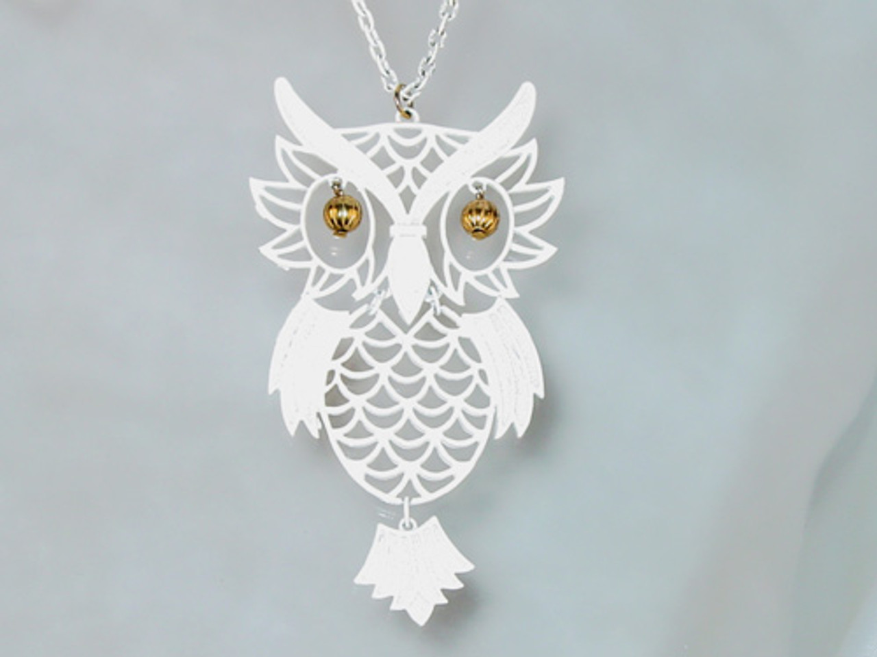 Enamel Owl Pendant Necklace