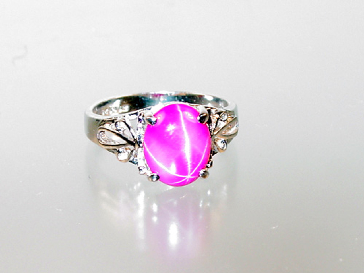Pink Star Sapphire Sterling Silver Ring