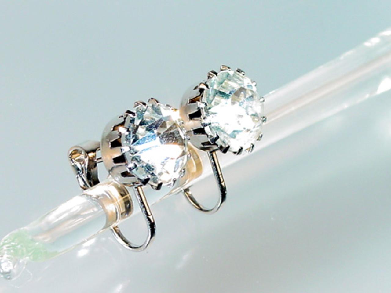 Pierced Clip Back Large Rhinestone Earrings