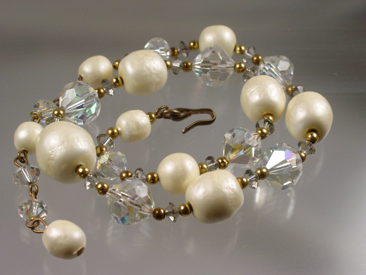 Textured glass pearls on gold filled chain