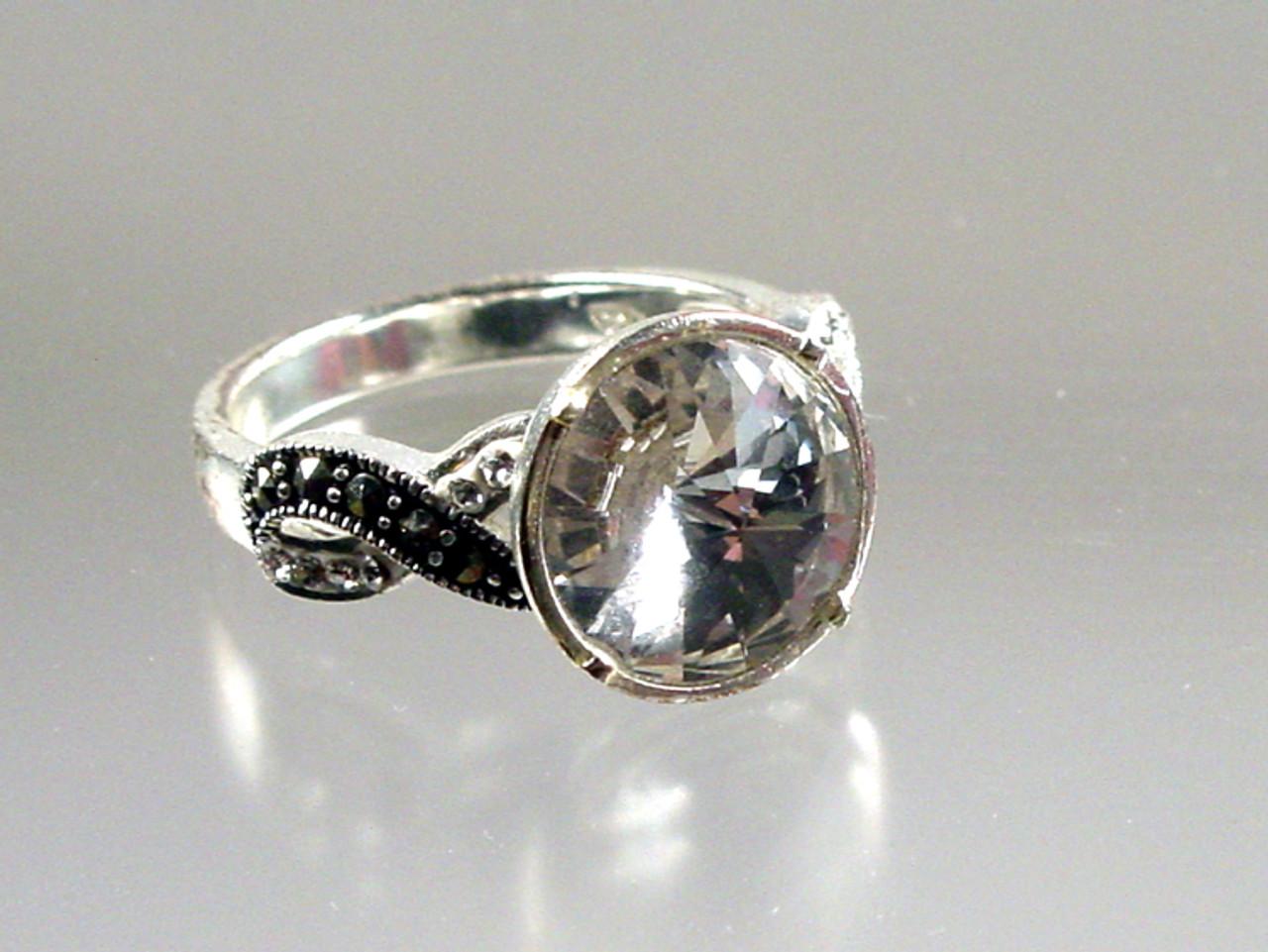 Rivoli crystal and marcasite ring